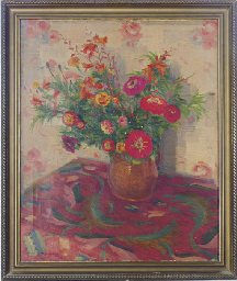 Still life of flowers on a tab