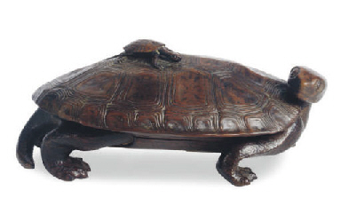 A JAPANESE WOOD TURTLE-SHAPED