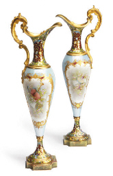 A PAIR OF CHAMPLEVE ENAMEL AND