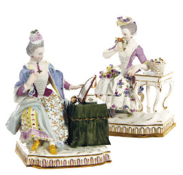 TWO GERMAN PORCELAIN FIGURES E