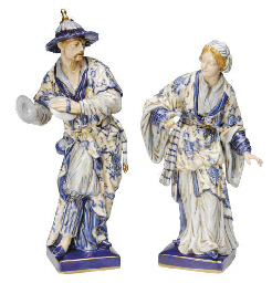 A PAIR OF MEISSEN STYLE PORCEL