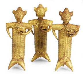 THREE GOLD ZODIAC FIGURES AND