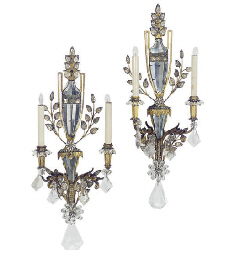 A PAIR OF GILT-METAL, CUT-GLAS