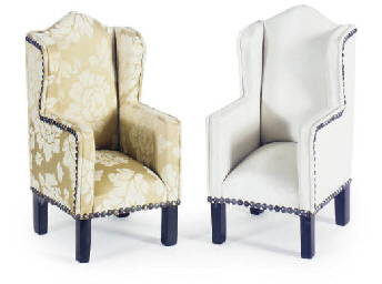TWO MINIATURE UPHOLSTERED WING