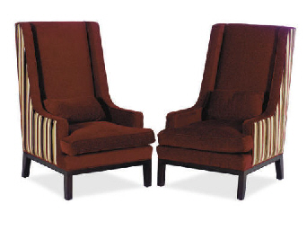 A PAIR OF BURGUNDY CHENILLE AN