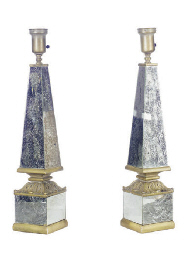 A PAIR OF CRACKLE-MIRRORED AND