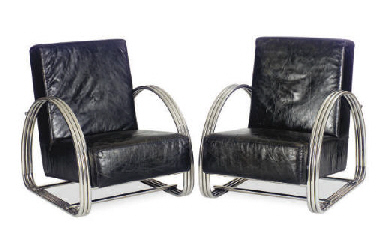 A PAIR OF CHROME AND LEATHER C