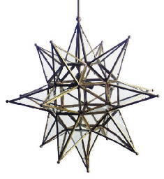 A GILT-METAL AND GLASS STAR-FO