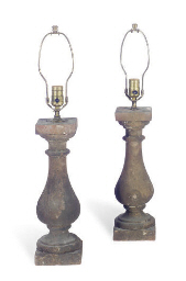 A PAIR OF STONE BALUSTER-FORM