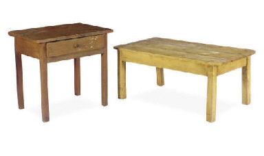 A PINE LOW TABLE AND A BROWN P