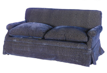 A VELVET UPHOLSTERED TWO-SEAT