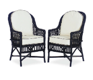 A SET OF TEN EBONIZED WICKER A
