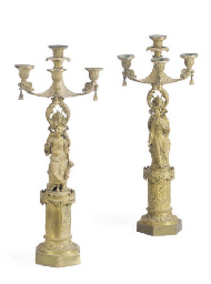 A PAIR OF CHARLES X GILT-BRONZ