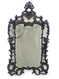 AN ENGLISH MAHOGANY MIRROR,