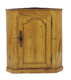 A FRENCH PINE CORNER CUPBOARD,
