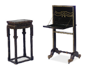 A BROWN AND GILT-LACQUER WRITI