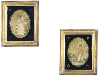 TWO FRAMED REGENCY SILK PICTOR