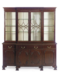AN ENGLISH MAHOGANY BREAKFRONT
