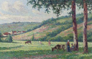 Paysage avec bergères et vache