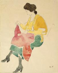Femme en blouse jaune