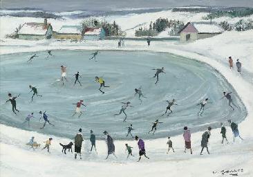 L'étang gelé aux patineurs