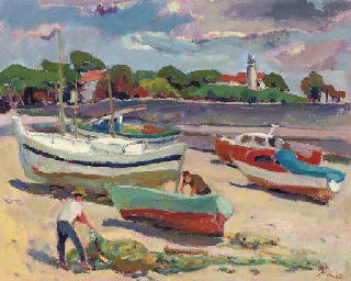 Pescadores y barcas