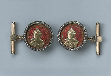 A PAIR OF RUSSIAN ENAMEL AND D