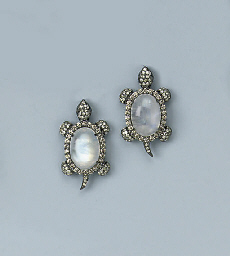 A PAIR OF MOONSTONE AND DIAMON