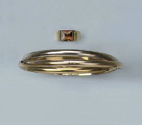 A BANGLE AND CITRINE RING, BY