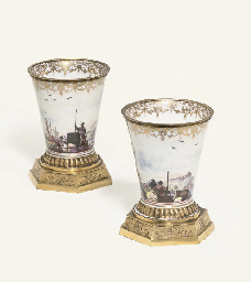 A PAIR OF MEISSEN GILT-METAL M