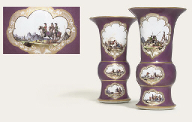A PAIR OF MEISSEN PURPLE-GROUN