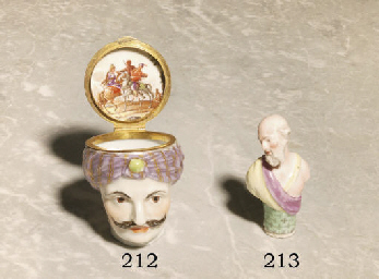 A GERMAN PORCELAIN GILT-METAL