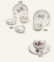 A PAIR OF GOTHA TEACUPS AND SA