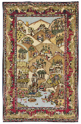 A PICTORIAL KASHAN RUG