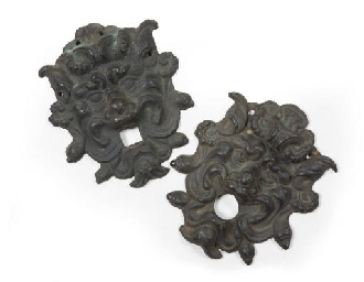 A MATCHED PAIR OF BRONZE BACKP