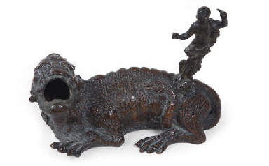 A NORTH ITALIAN BRONZE INKWELL