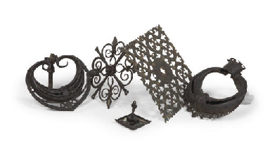 TWO WROUGHT-IRON DOOR KNOCKERS