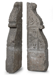 A PAIR OF ITALIAN CARVED HARDS