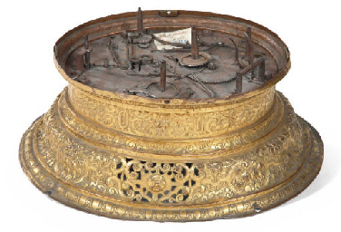 A SOUTH GERMAN GILT-BRASS BASE