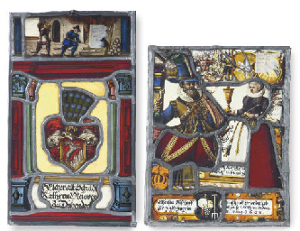 FOUR VARIOUS STAINED-GLASS FRA