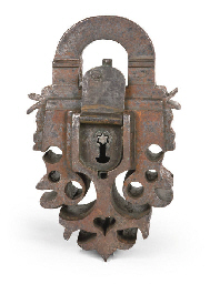 AN ORNAMENTAL IRON PADLOCK