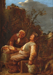 Peasants drinking outside an i