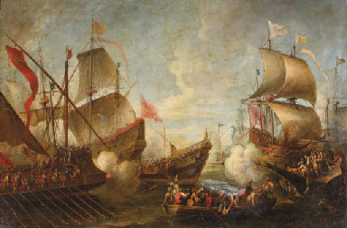 A naval battle between Turks a