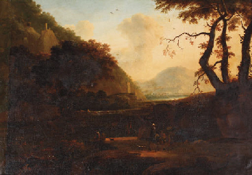 An Italianate river landscape