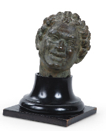 A BRONZE HEAD OF A FAUN