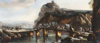 A cavalry skirmish on a bridge