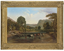 Cattle watering in an extensive Highland valley, with meadows and cottages beyond