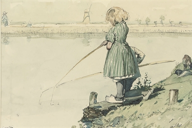 Dutch children fishing