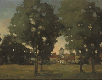 A wooded landscape with a town