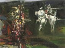 A Burning with Fleeing Horsemen